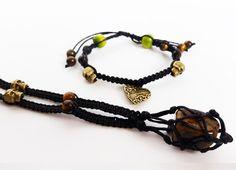 Skull bracelet and necklace. by totesBOHO Tigers Eye Necklace, Tiger Eye Bracelet, Skull Bracelet, Beaded Bracelets, Crystal Pendant, Crystal Necklace, Bronze, Charmed, Jewellery