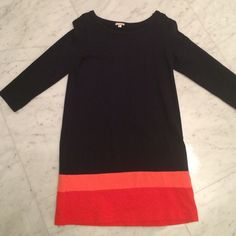 Gap cotton dress size M Gap navy dress with a peach and orange/reddish stripe at the bottom.  Hits 2 inches above the knee on me and I am 5'6.  Size medium.  It is a heavier cotton. GAP Dresses Mini