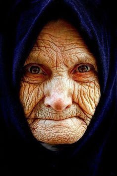 the lines on her face are very detailed . what a life she has lived !!