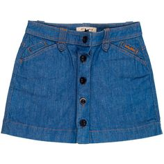 Pre-owned See by Chloé Denim Skirt ($50) ❤ liked on Polyvore featuring skirts, mini skirts, bottoms, blue, short mini skirts, denim miniskirt, button front skirt, blue denim skirt and denim skirt