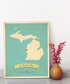 {Customizable State Map Print by My Roots} Too cute...