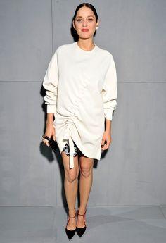 Marion Cotillard Wears Luxe Sweatshirt Dress to Dior Show