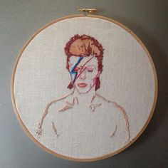 David Bowie  hand embroidered alladin sane hanging by cookoorikoo