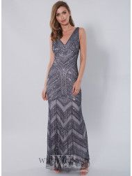 A stunning full length dress by Zaliea. A flattering gown featuring a v-neckline and geometric embellished detailing. Affordable Bridal, Grey Bridesmaids, Groom Dress, Summer Dresses, Formal Dresses, Beautiful Gowns, Mother Of The Bride, Dresses Online, Bridal Dresses