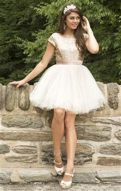homecoming dress with sequin cap sleeve bodice and full tulle skirt