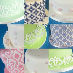 New Patchwork Cutters Mix & Match Side Design sugarcraft cutters. Examples of cool cake covering patterns you can create using them.