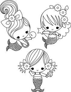 Drei kleine Meerjungfrauen #Ausmalbild #Malvorlage #gratis