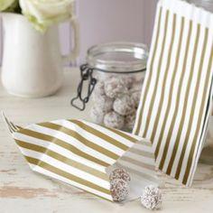 Les 25 sacs en papier à rayures or