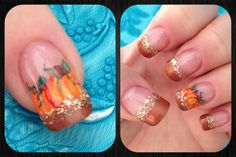 Fall nail design with pumpkins
