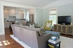 Thanks Casey - Love the color Benjamin Moore Paint : Healing Aloe (living room)
