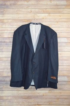 Oak Hill Men's Jacket-Relaxer Linen Sport Coat Navy Blue Size 62R #OakHill #TwoButton