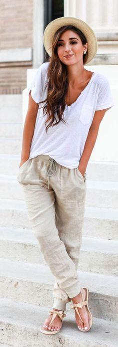 Khaki Plain Belt Drawstring Waist Harem Pants - Pants - Bottoms