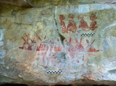 A cave painting is seen in this handout picture taken during 2011 in the Sierra de San Carlos, Mexico.
