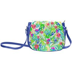 Cute Tropical Watercolor Flowers Classic Saddle Bag/Large (Model 1648)