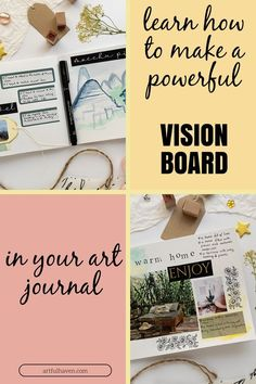 With these art journal ideas on creating a vision board will inspire you to make more mindful and meaningful art in your journals. Plus, you can download a free vision board printable!
