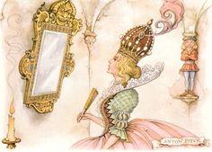 Snow White stepmother with mirror - Tales of the Efteling, Anton Pieck Snow White Art, Snow White Queen, Snow White Stepmother, Animiertes Gif, Animated Gif, Home Bild, Anton Pieck, Johannes Vermeer, Mirrors