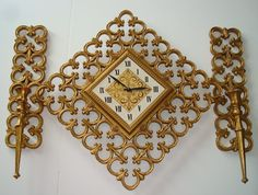 Syroco Clock And Sconces SetHollywood Regency by TapersnPetals