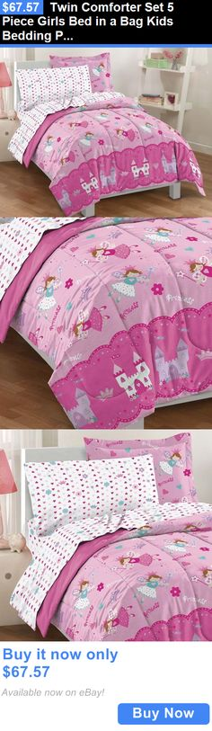 Kids at Home: Twin Comforter Set 5 Piece Girls Bed In A Bag Kids Bedding Princess Pink Bedroom BUY IT NOW ONLY: $67.57