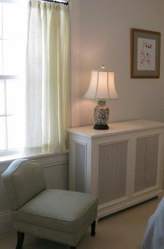 Built-in Desk Radiator Cover Design Ideas, Pictures, Remodel, and Decor Window Unit Air Conditioners, Decor, Interior Design, White Radiator Covers, Home Radiators, Home, Interior, Bookcase Wall, Home Decor