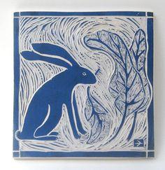 rabbit in the garden hand-carved ceramic art tile