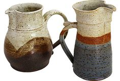 Hand-Thrown Pottery Pitchers, Pair