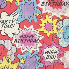 IHR Birthday Comic Strip Theme Printed 3-Ply Paper Cocktail Napkins Wholesale C005000
