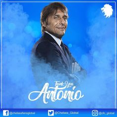 Thank you for everything Antonio Conte. We will miss you dearly. All the best for the future! Chelsea Fans, Chelsea Football, Antonio Conte, Lions, Good Things, Future, Blue, Lion, Future Tense