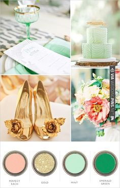 gold peach mint and emerald wedding color palette | CHECK OUT MORE IDEAS AT WEDDINGPINS.NET | #weddings #weddinginspiration #inspirational