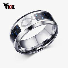 Bishilin Stainless Steel Ring Men Electrocardiogram Carbon Fiber Mens Wedding Bands Black Size 7