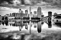 5 x 7 - Dramatic Minneapolis - Minneapolis, MN - Minneapolis Skyline Photography $14.99