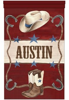 """""""Lil' Buckaroo"""" Wall Banner Canvas Cowboy Art Decor For Boys From Dish And Spoon Productions"""
