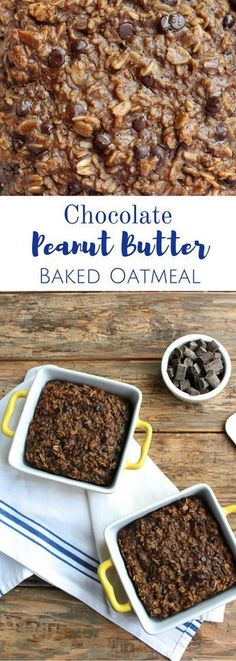 This Healthy Chocolate Peanut Butter Baked Oatmeal Recipe is a great way to start your morning! This nutritious breakfast is packed with healthy fats, carbs, and delicious chocolate peanut butter flavor. Perfect for meal prepping! Healthy Peanut Butter, Healthy Baking, Vegan Baking, Best Breakfast, Breakfast Recipes, Breakfast Ideas, Vegan Breakfast, Health Breakfast, Breakfast Club