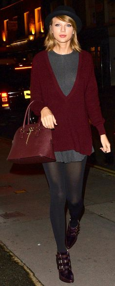 Taylor Swift ; Visiting the Saatchi Gallery, London, October 2014, Free People dress, 525 America sweater, Jimmy Choo boots & Aldo bag