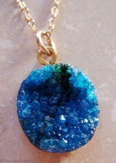 JewelSugar™ Sparkling Blue Royale Genuine Druzy 14k Gold Necklace | Royal Blue Druzy Pendant | The Lovely Locket Collection $39.99