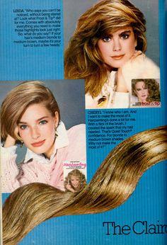 1985 Clairol Hair Highlighting Collection, pg 1 of 2 Vintage Advertisements, Vintage Ads, Clairol Hair Color, 1970s Hairstyles, 1980s Hair, Waves Curls, Medium Blonde, Kathy Ireland, Seventeen Magazine