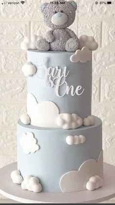 Cake topper Résine couchage noir bébé garçon bleu