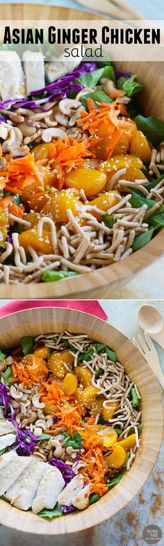 Salty, sweet and savory, this Asian Ginger Chicken Salad is the perfect lunch or easy dinner. Filled with mandarin oranges, chow mein noodles, cashews, ginger marinated chicken and much more, this salad is filling and crave-worthy!: