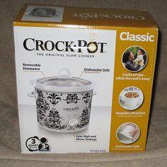 New Crock Pot The Original Slow Cooker 3 Quart Round White & Black Crockpot Ideas, Crock Pot, Stoneware, Slow Cooker, Black And White, The Originals, Cooking, Day, Kitchen