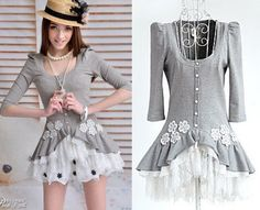 Fashion Trendy Dolly Kawaii Sweet Princess Cute Lolita Lace Gray Shirt Top s L Kawaii Fashion, Lolita Fashion, Trendy Fashion, Gothic Dolls, Gothic Outfits, Grey Shirt, Nice Dresses, Style Inspiration, Clothes For Women