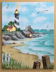 Shoreline Lighthouse LED Lighted Wall Canvas Art