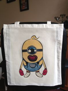 Minion printed bag drawn by my sister