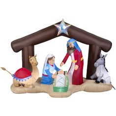 Shop Gemmy 5.51-ft Lighted Nativity Christmas Inflatable at Lowes.com