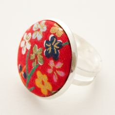 Oriental red floral ring £6.00