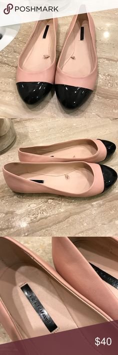 Zara pink and black flats. Sara pink and black flats size 8. In a greta condition. Zara Shoes Flats & Loafers
