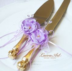 Wedding / Cake Server Set & Knife / Wedding Cake Knife / Cottage / Shabby Chic / wedding / Lavender / Purple / Lilac - pinned by pin4etsy.com