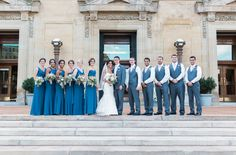 Soldiers & Sailors Memorial Hall & Museum | Pittsburgh Wedding Venue | Wedding Reception | Wedding Ceremony | Historic Wedding | Anyelika & Justin | July Wedding | Blue and Pink Wedding | Photo Ashley Giffin Photography | Bridal Party | Outdoor Photo