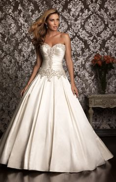 oyster colored a-line strapless wedding ball gown | Image Size : F - Enchanting Sweetheart Strapless Satin Ballgown With ...