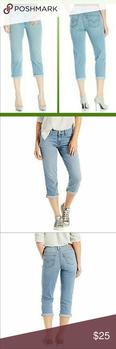 """Levi's Cropped Jeans Size 27 Levis Garden Blue Size 27 NWT $44.50  Measurements: Waist 14.5"""", Rise 8.5"""", Inseam 22"""". Very versatile can be worn with heels, boots or flats.   Material: Cotton 60%, Viscous 23%, Polyester 16%.  Thanks for stopping by. Check out my closet for more items you will love. I offer 10% off 3+ bundles. Happy Poshing.🤗 Levi's Jeans Ankle & Cropped"""