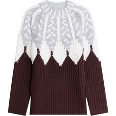 Peter Pilotto Wool Intarsia Knit Pullover ($1,020) ❤ liked on Polyvore featuring tops, sweaters, multicolor, thick knit sweater, ribbed sweater, intarsia sweater, knit pullover sweater and fair isle sweater