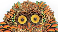 """Amazon.com: Owl shaped wall picture in my unique mosaic technique where natural materials """"blend"""" with elements of common use to create this one of a kind piece.: Handmade"""